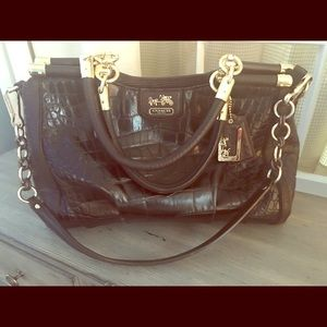 Coach Madison Embossed Carrie Espresso/Gold